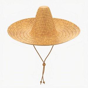 3D model Sombrero straw hat brown