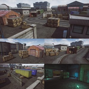 FPS Mobile Game Map v1 with assets Unreal 3D model