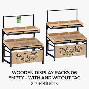 Wooden Display Rack 06 Full With and Without Tag model