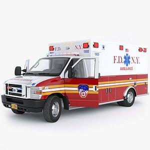 Ford E-350 Ambulance FDNY with Interior model