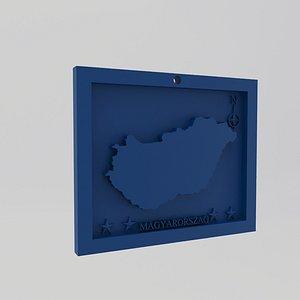 Hungary-Magyarorszag Map Print 3D model