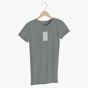 3D model Female Crew Neck Hanging With Tag Gray