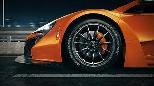 3D model C4D Octane McLaren P1 render Highway racing city viaduct