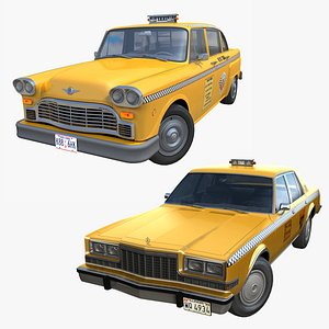 3D American taxi cars collection PBR model