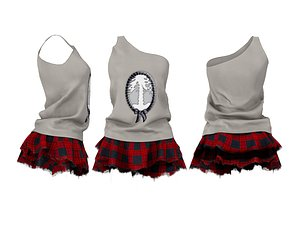 3D Torn Edge Layered Mini Skirt Outfit