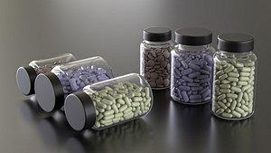 3D model pills bottles versions -