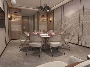 3D The Private Room Of New Chinese Style Restaurant And Corridor