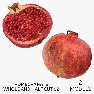 Pomegranate Whole and Half Cut 02 - 2 models 3D model