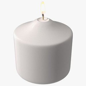 3D Lit Wide Dome Top Pillar Candle White