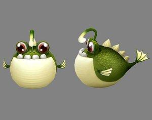 anglerfish blowfish fish 3D model