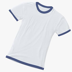 Female Crew Neck Laying White and Dark Blue 02 3D