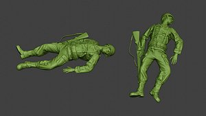 soldier ww2 killed american 3D model