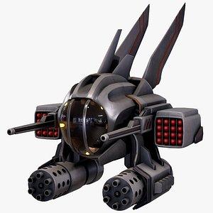 drone sci-fi fighter 3D model