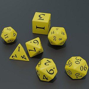 RPG dice asset Yellow model
