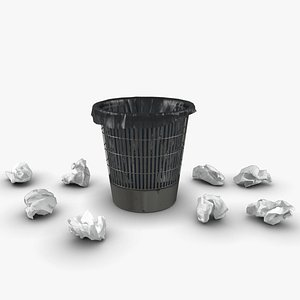trash bin crumpled paper 3D model