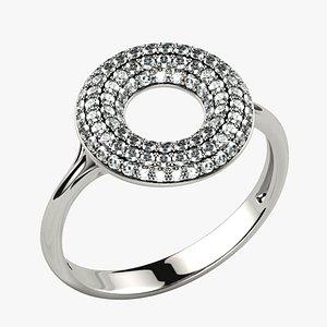 3D 100 Gems Circle Pave Fashion Gold Ring model