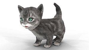 Fur Cute Gray Cat Kitten Animated 3D model