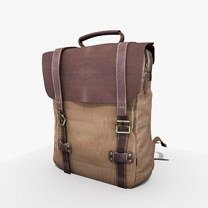 Canvas and Leather Rucksack Bag 3D model