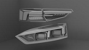 Headlights Rearlights Audi RS5 3D model