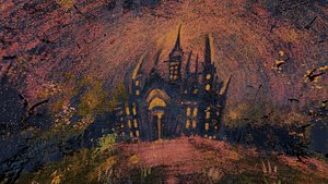 3D 360 VR Panoramic Spooky Castle equirectangular handpainted Low-poly model