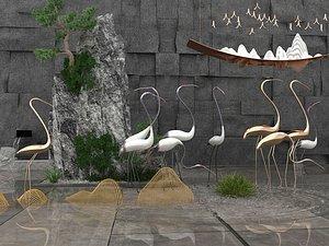 3D model Landscape sculpture sketch waterscape sculpture crane rockery