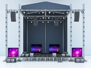 modeled scene truss stage 3D