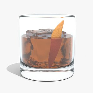 Old Fashioned Cocktail - with Orange 3D model