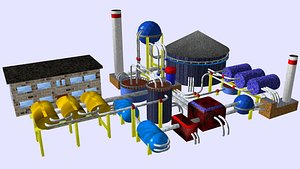3D model refinery isometric