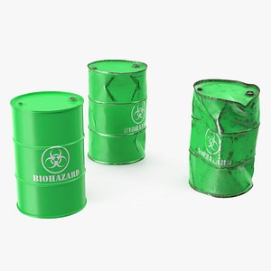 3D biohazard toxic waste barrels model