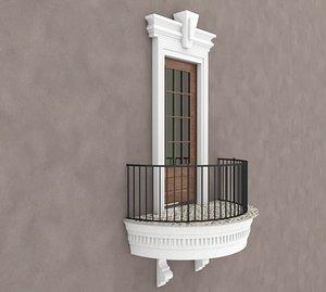 Balcony Glass Door 2 3D model