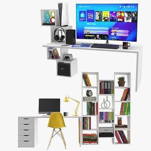 3D Two Modern Desks With Full Setup model