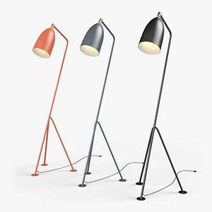Gräshoppa Floor Lamps  Red-Black-Gray 3D model