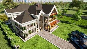 architectural mansion sketchup 3D model