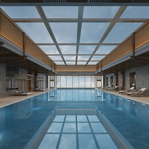 Full Indoor Pool with Patio Set 3D