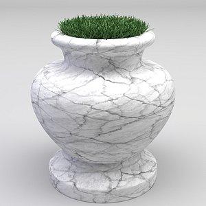 marble pot grass plant 3D
