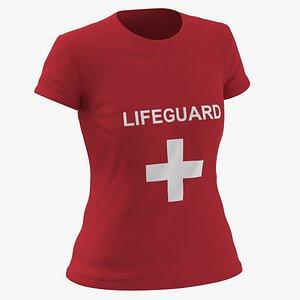 Female Crew Neck Worn Red Lifeguard 02 3D model