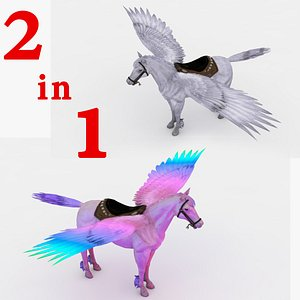 2 in 1 Pegasus Rigged and Animated 3D