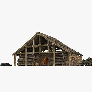 The wooden house where charcoal is made 3D model