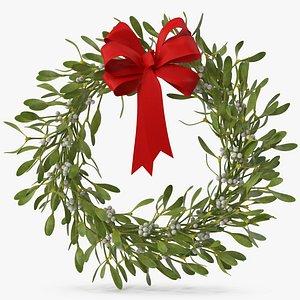 Mistletoe Wreath with Red Bow 3D