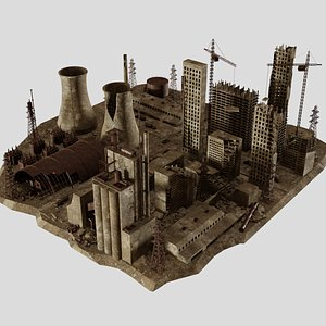 Abandoned  Post Apocalyptic destroyed factory model