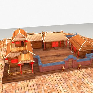 chinese courtyard house 3D