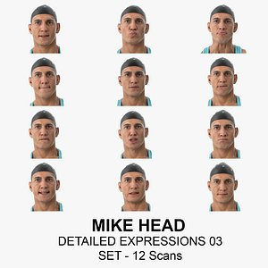 Mike Real Head Detailed Expressions 03 Set 12 Clean Scans Collection 3D model
