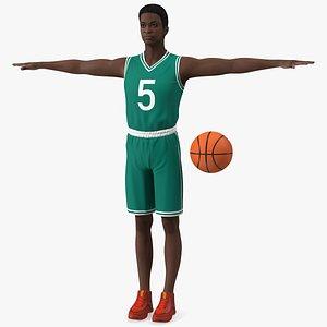 3D Dark Skin Teenager Basketball Player T Pose model