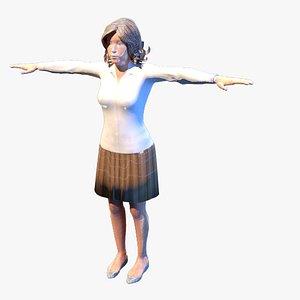 3D model business woman facial