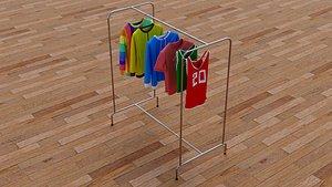 3D Textured Hanged Tshirts Cloth Rack model