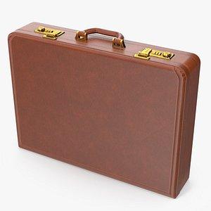 Hard Attache Leather Briefcase Brown 3D