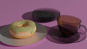3D donut coffee model