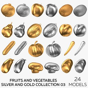 Fruits and Vegetables Silver and Gold Collection 03 - 24 models 3D model