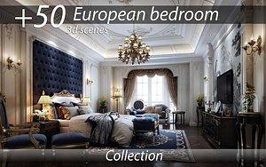 bedroom 3d interior scenes collection Europeans 3D model