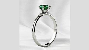 3D 5mm Gemstone Gold Ring model